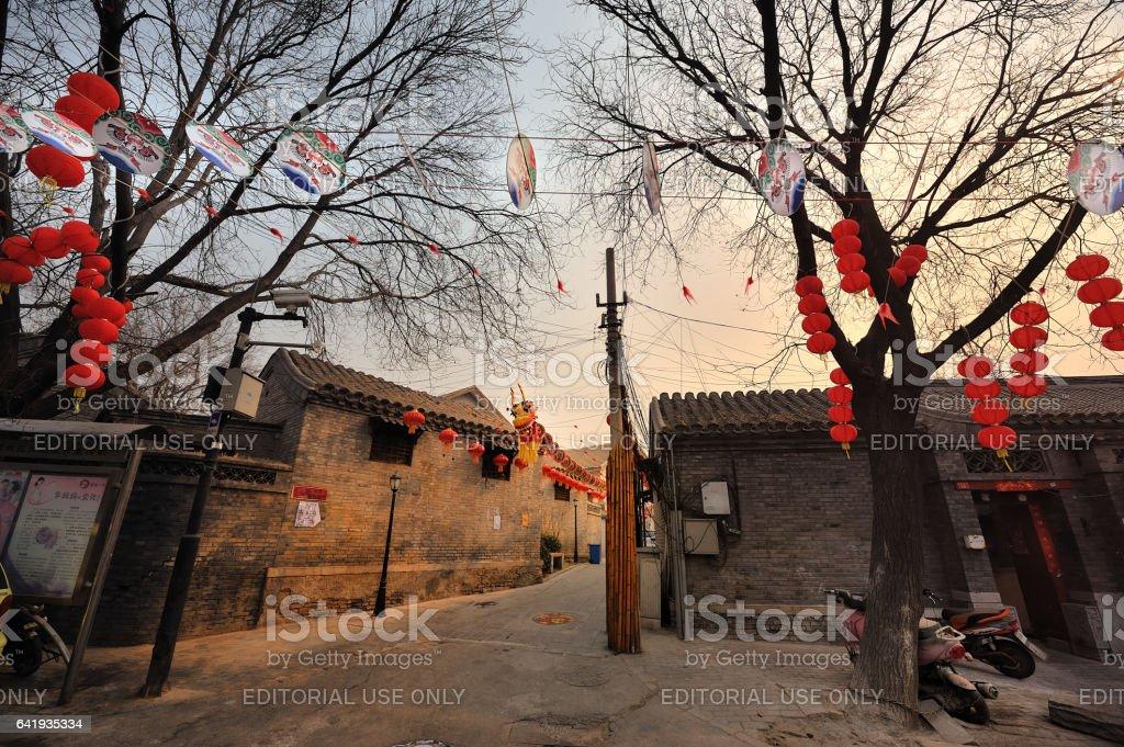 Beijing, Chinese New Year, red lanterns high hanging. stock photo