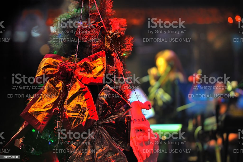 Beijing, Christmas Eve before the streets, Christmas blessing! stock photo