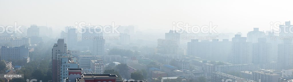 Beijing city under haze in the morning stock photo
