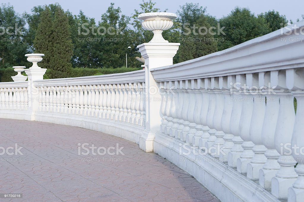 beijing: classic balustrade in a city garden royalty-free stock photo
