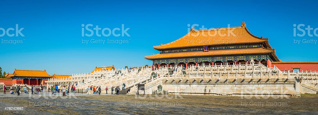 Beijing crowds of tourists visiting the Forbidden City China panorama stock photo