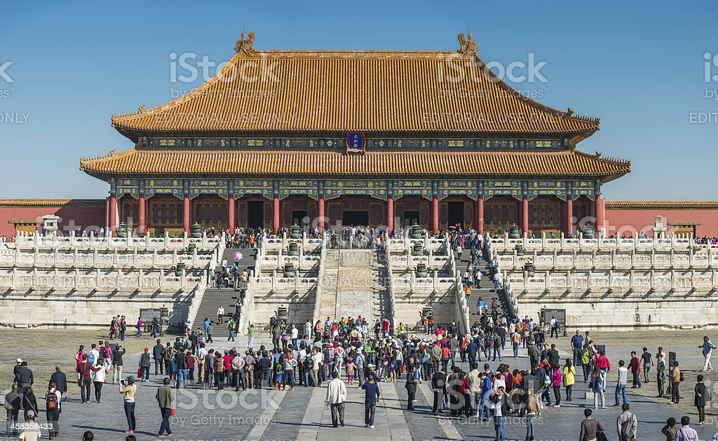 Beijing crowds of tourists visiting the Forbidden City China stock photo
