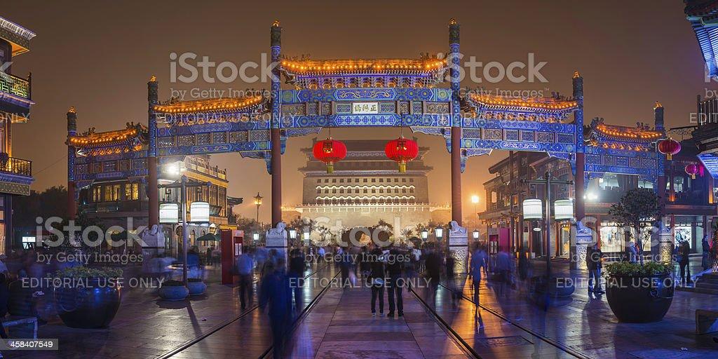 Beijing crowds shopping on Qianmen Street foggy night panorama China royalty-free stock photo