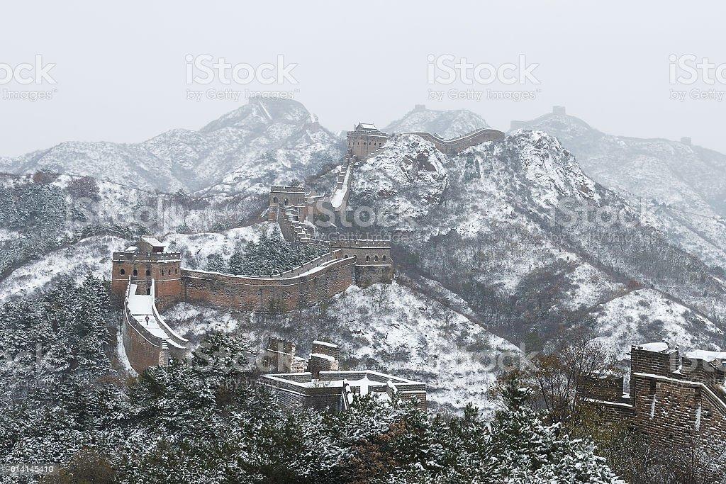 Beijing Jinshanling snow the Great Wall stock photo