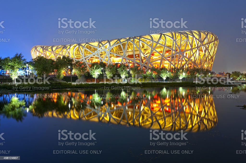 Beijing Olympic statium at night stock photo