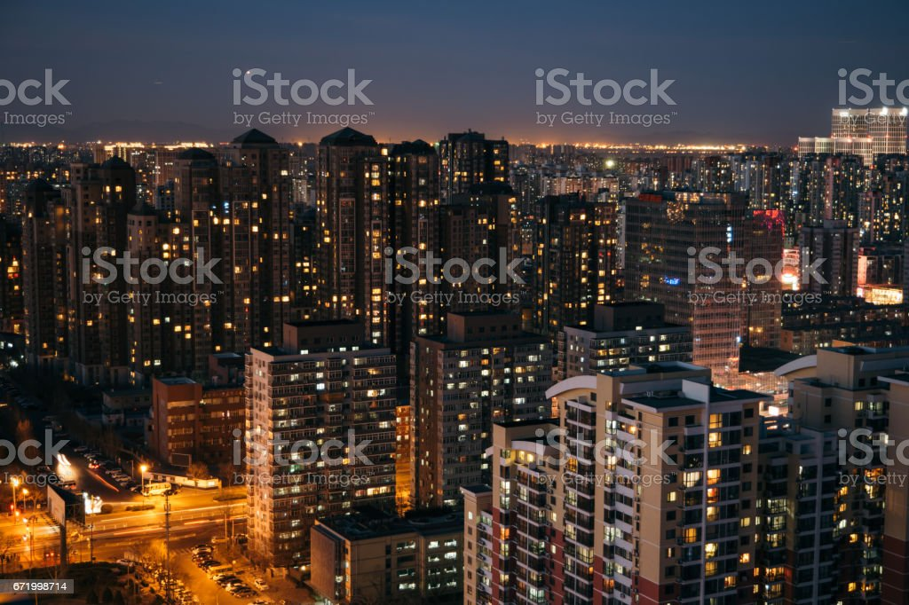 Beijing Residential Area Cityscape, Night stock photo