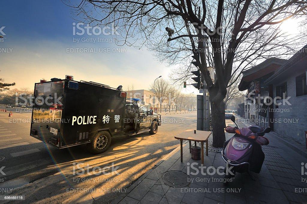 Beijing, riot vehicles in the street, stock photo