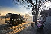 Beijing, riot vehicles in the street,