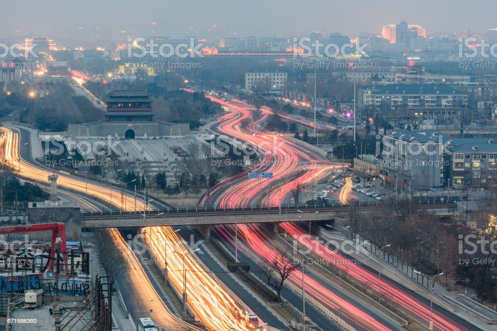 Beijing Smog at Dusk stock photo