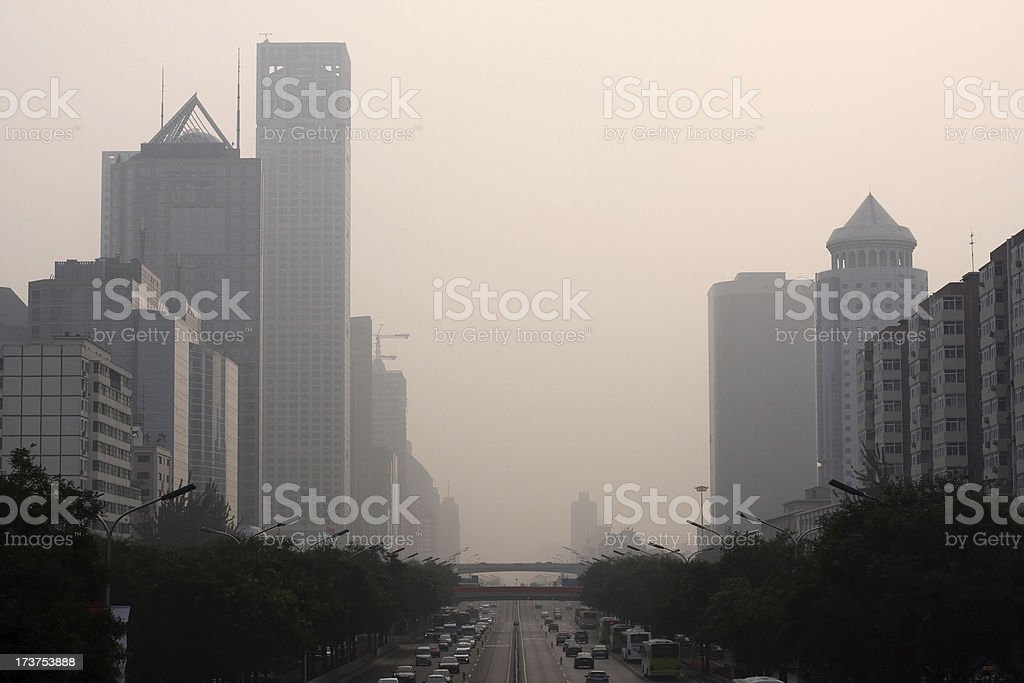 Beijing Smog Megacity Cityscape with Highway royalty-free stock photo