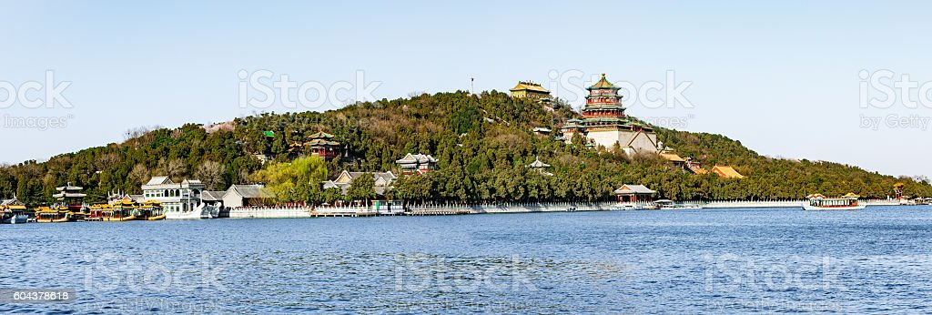 Beijing Summer Palace landscape,Chinese Qing Dynasty imperial garden stock photo