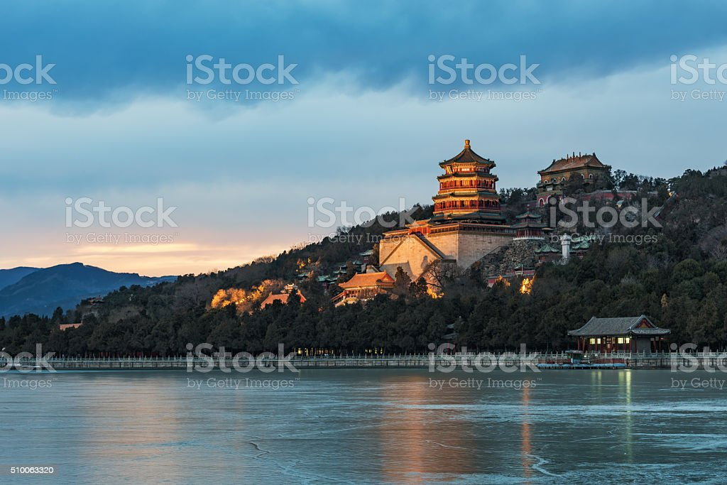 Beijing Summer Palace Night stock photo