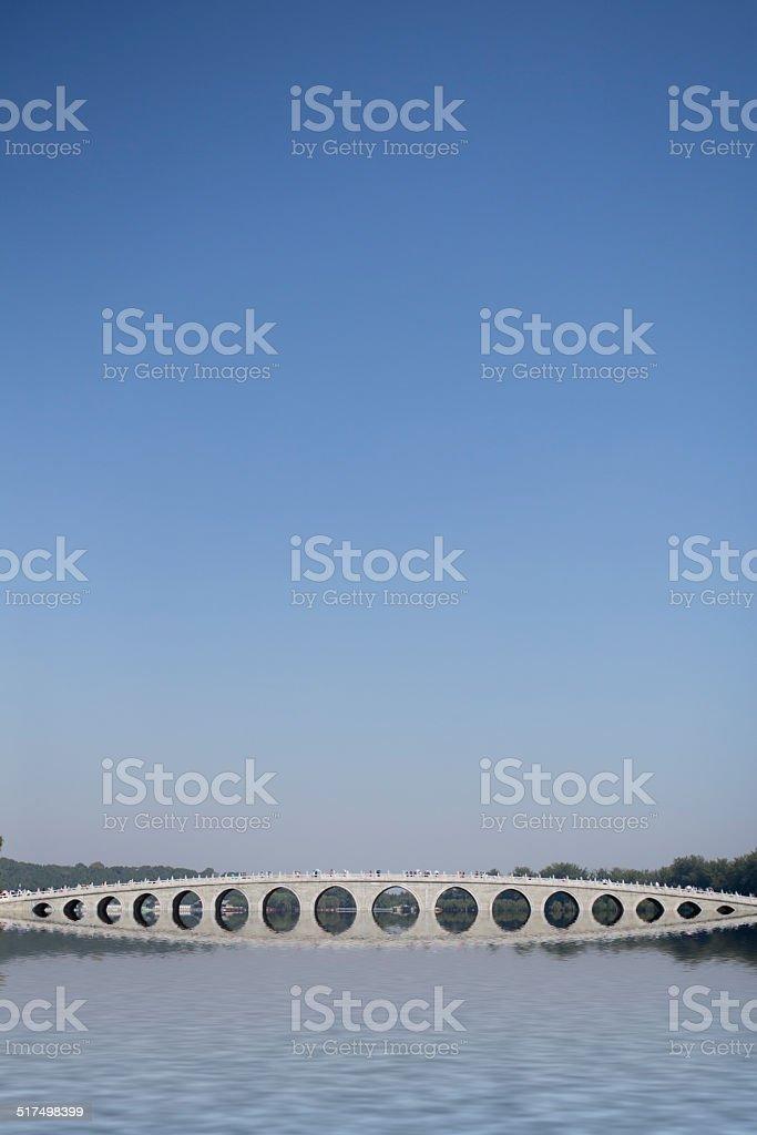 Beijing the 17-Arch Bridge in Summer Palace garden stock photo