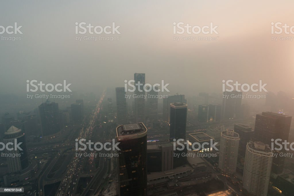 Beijing Urban Skyline in air pollution stock photo