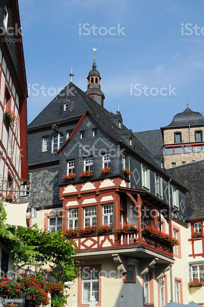 Beilstein in mosel valley with typical Half-Timbered (Germany) stock photo