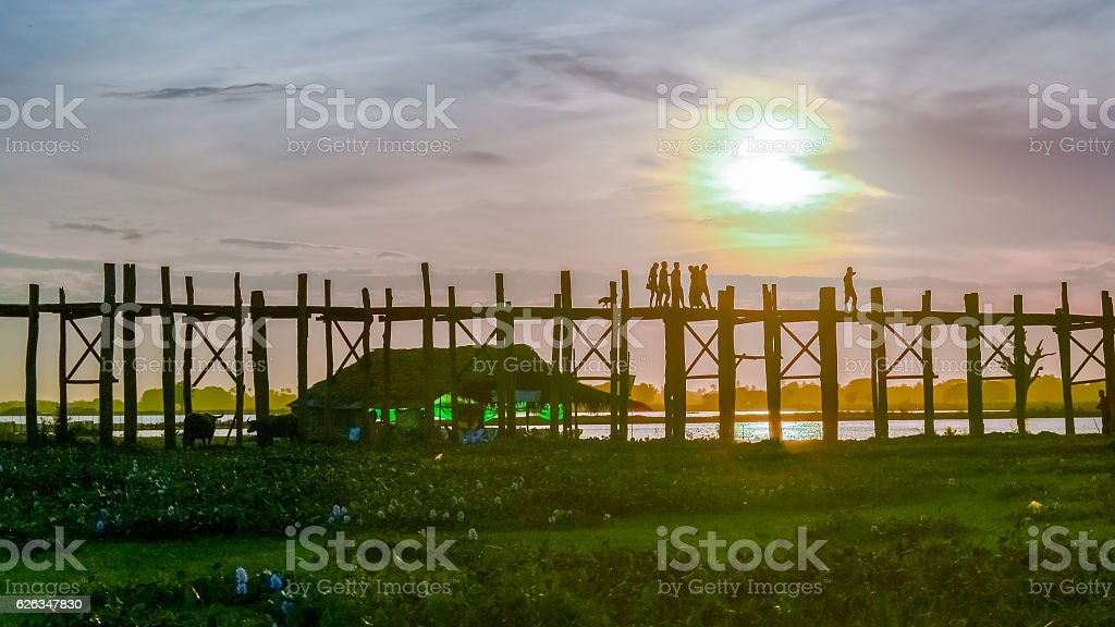 U bein bridge at sunset Amarapura ,Mandalay, Myanmar. stock photo