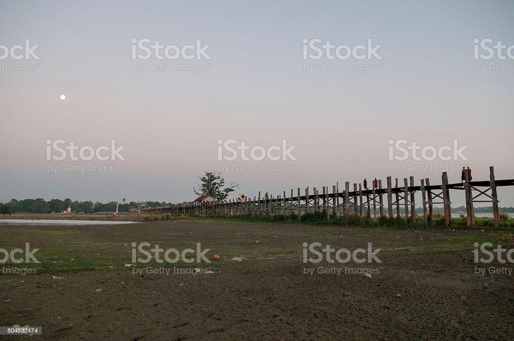 U Bein Bridge in Amarapura, Myanmar stock photo