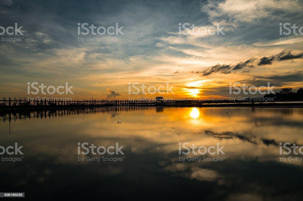 U Bein bridge in Sunset, Mandalay, Myanmar stock photo