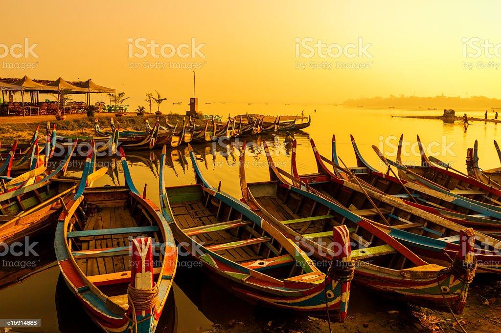 U Bein Bridge with boat stock photo