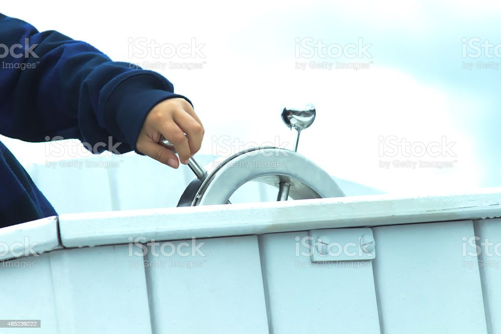 Being a capitan for one day stock photo
