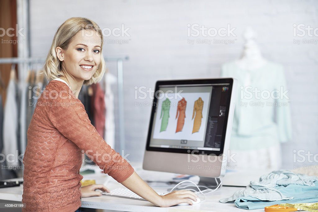 Being a designers her dream royalty-free stock photo