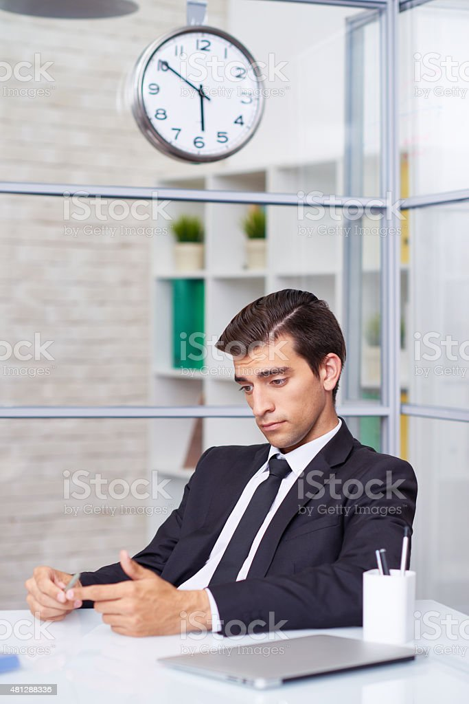 Being bored at office stock photo