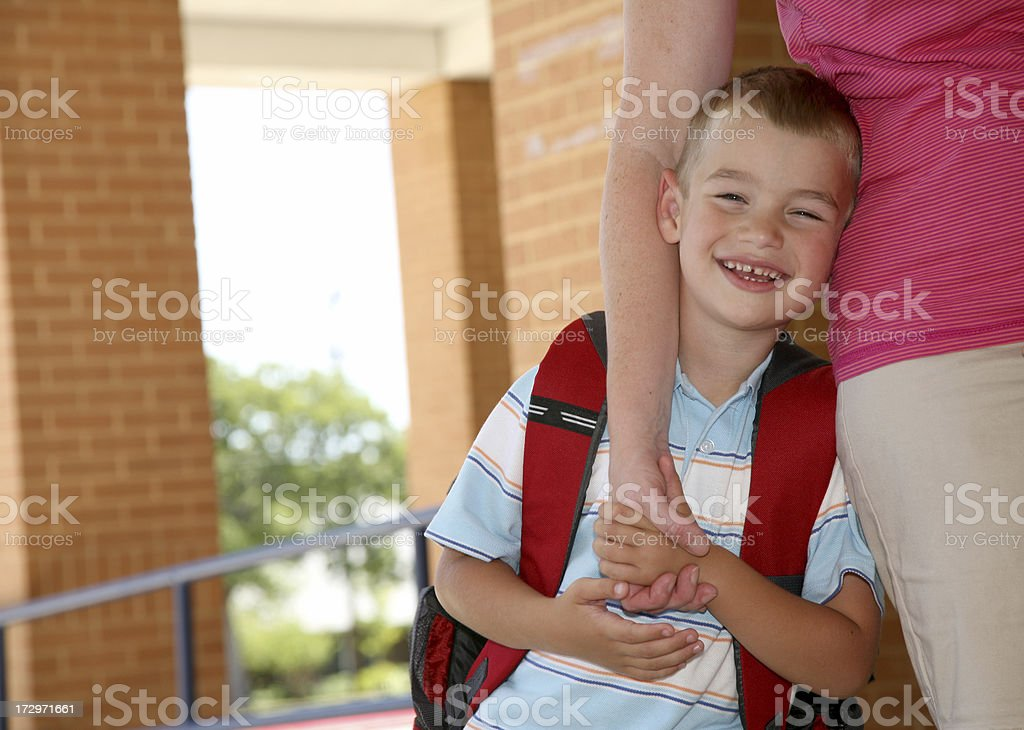 Being dropped off at school royalty-free stock photo
