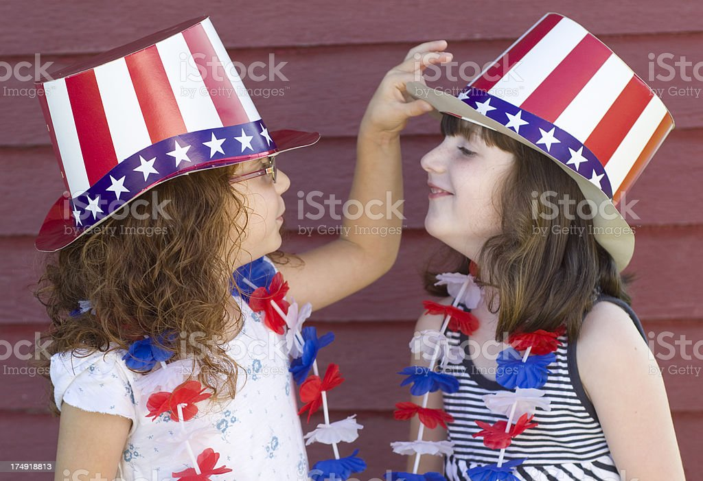 being patriotic little girls royalty-free stock photo