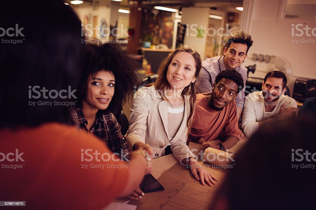 Being promoted at the workplace stock photo