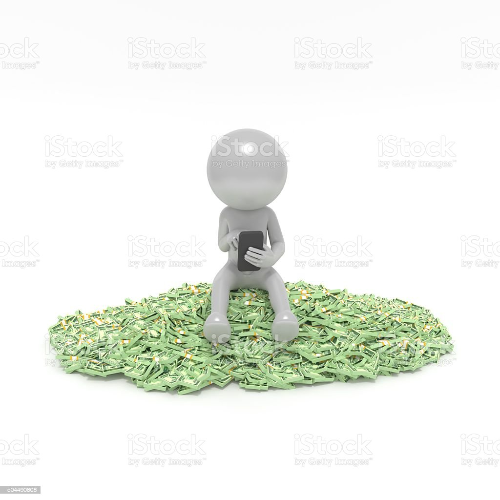 Being sit on money stock photo