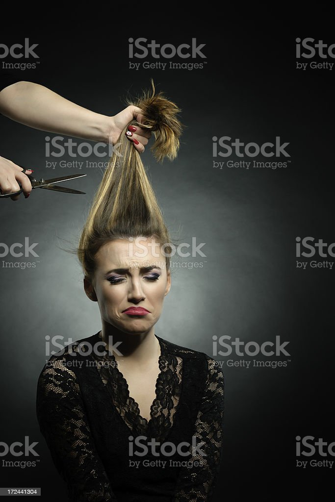 being sorry of her hair royalty-free stock photo