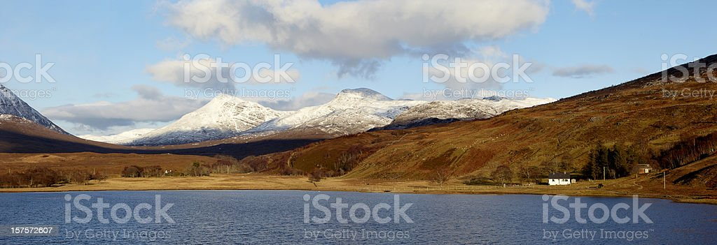 Beinn Damph from Loch Coultrie, Wester Ross, Scottish Highlands stock photo