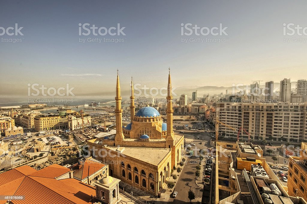 Beirut downtown cityscape & Mohammad al amin mosque stock photo
