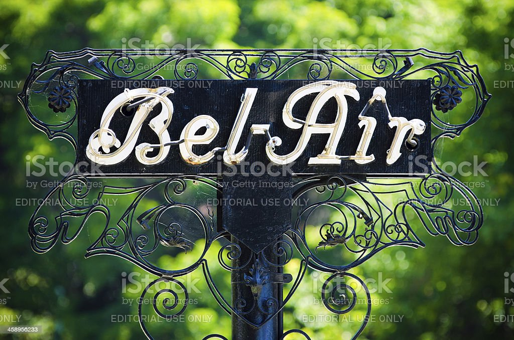 Bel-Air sign in Los Angeles, CA stock photo