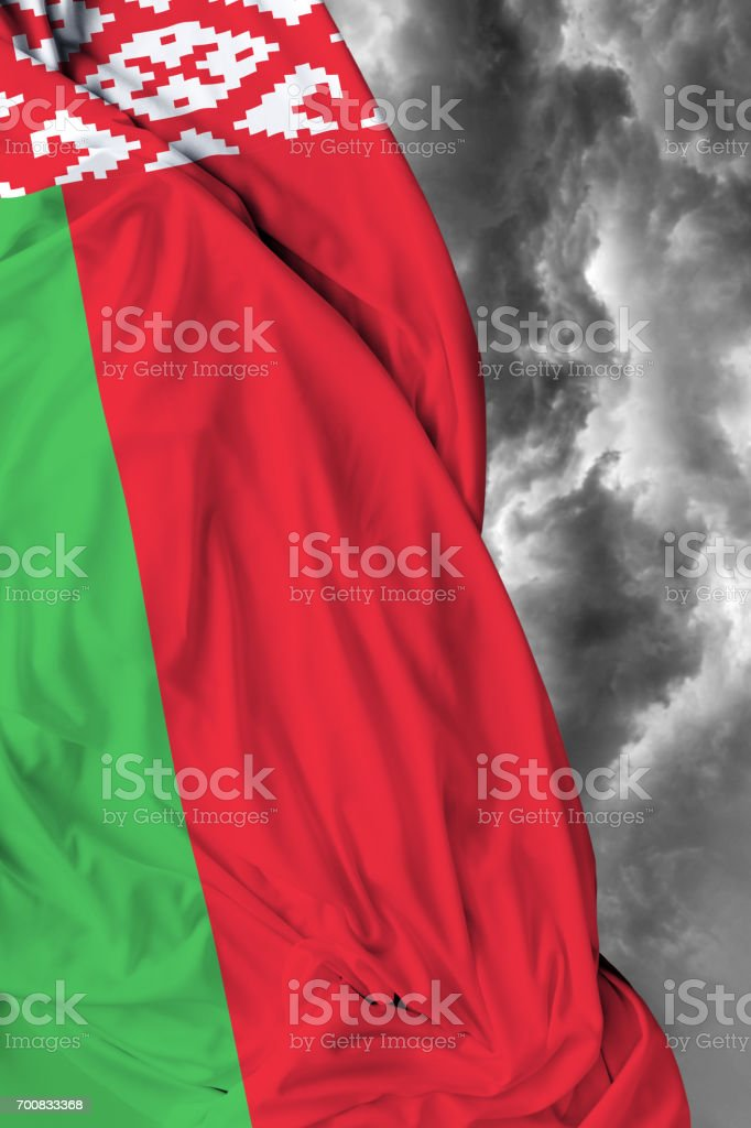 Belarus flag on a bad day stock photo
