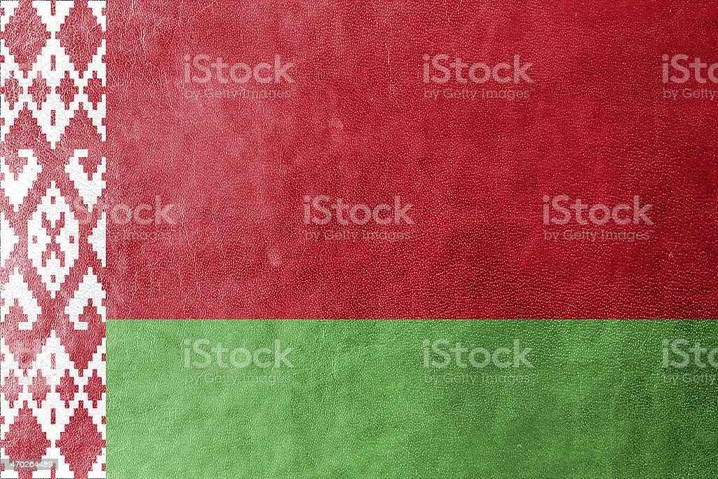 Belarus Flag painted on leather texture stock photo