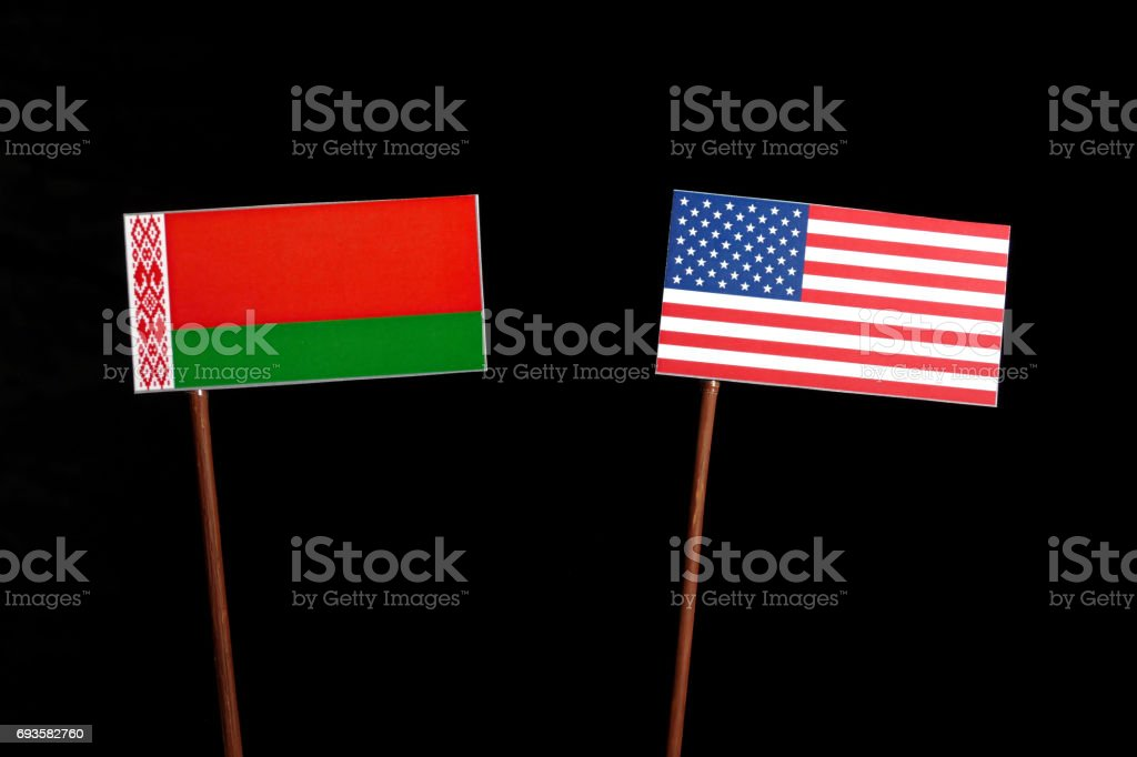 Belarus flag with USA flag isolated on black background stock photo
