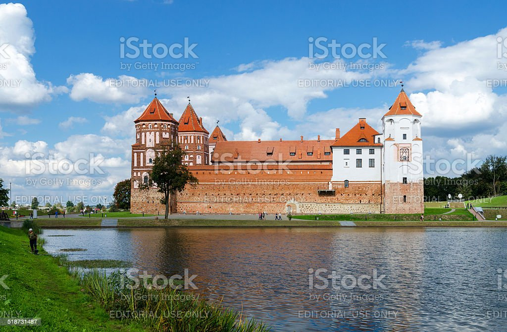 Belarus, Grodno region. Mir Castle, view from the lake stock photo