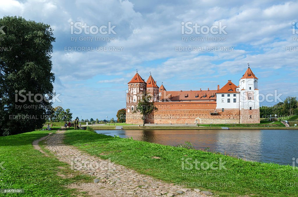 Belarus, Grodno region. Road to the Mir Castle stock photo