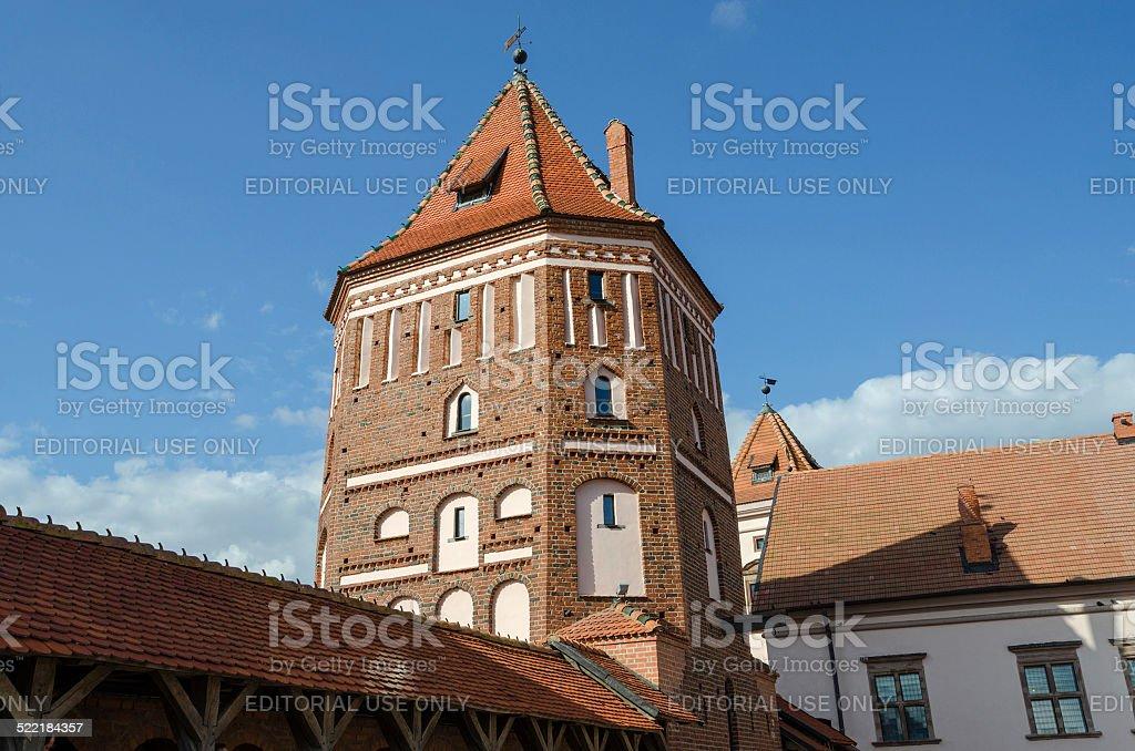Belarus, Grodno region. Tower of Mir Castle stock photo
