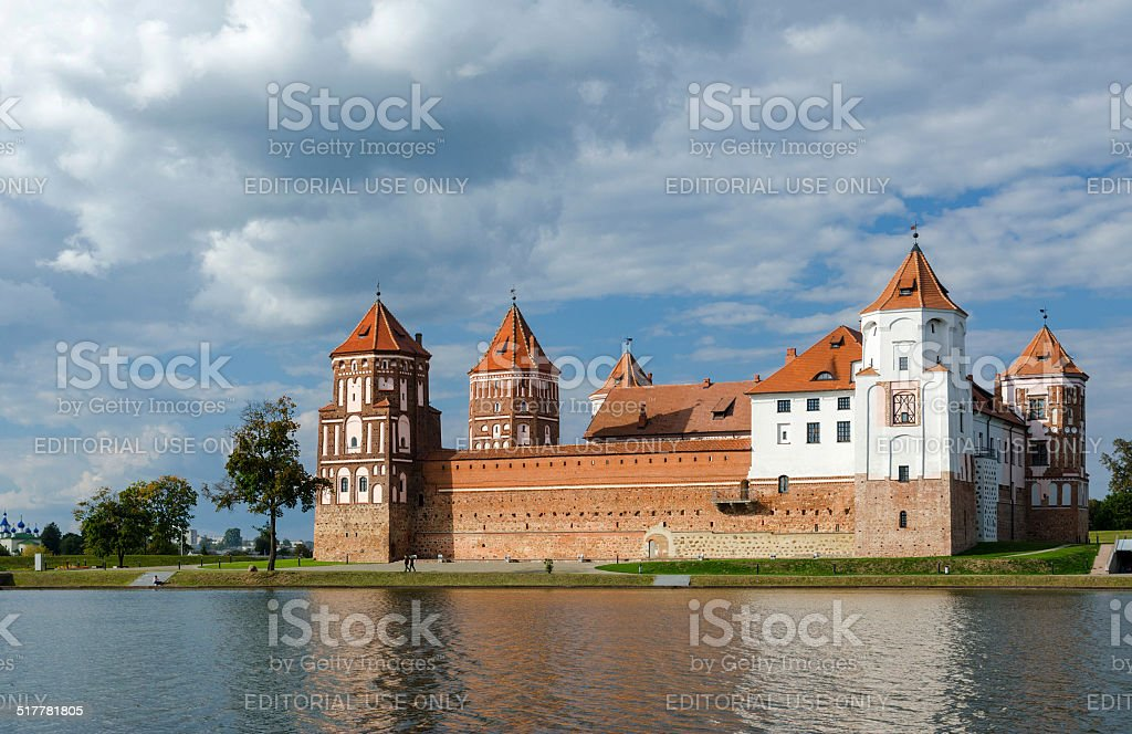 Belarus, Mir Castle Complex, beautiful view from the lake stock photo