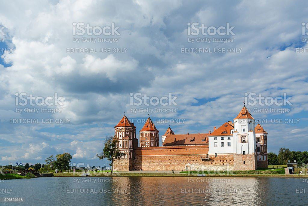 Belarus, Mir Castle Complex, view from the lake stock photo
