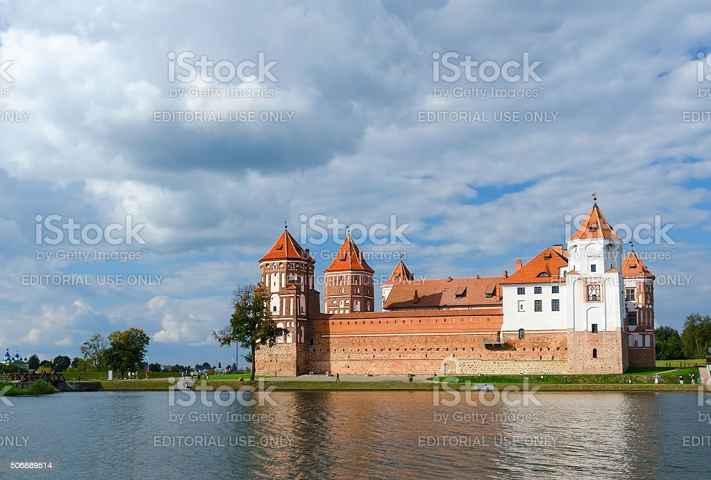 Belarus. Mir Castle, view from the lake stock photo