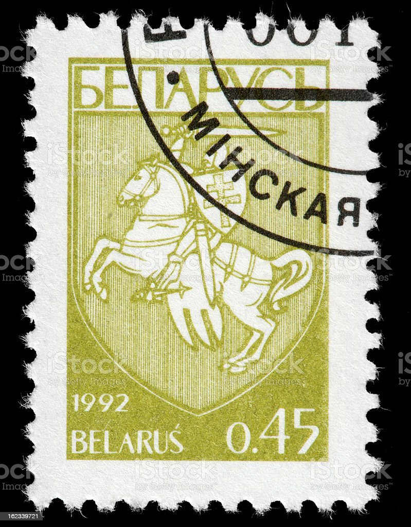 Belarus Postage Stamp Illustrating a Crusades Horseman in Blue-tones, 1992 stock photo