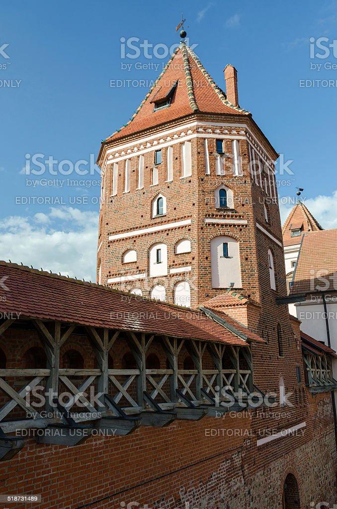 Belarus. Tower of Mir Castle stock photo