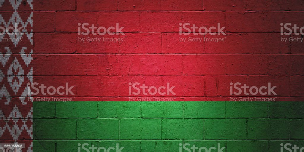 Belarusian flag painted on a wall stock photo