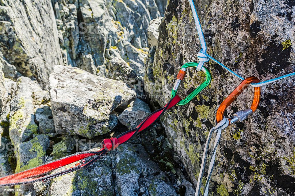 Belay anchor and Safety loop. stock photo