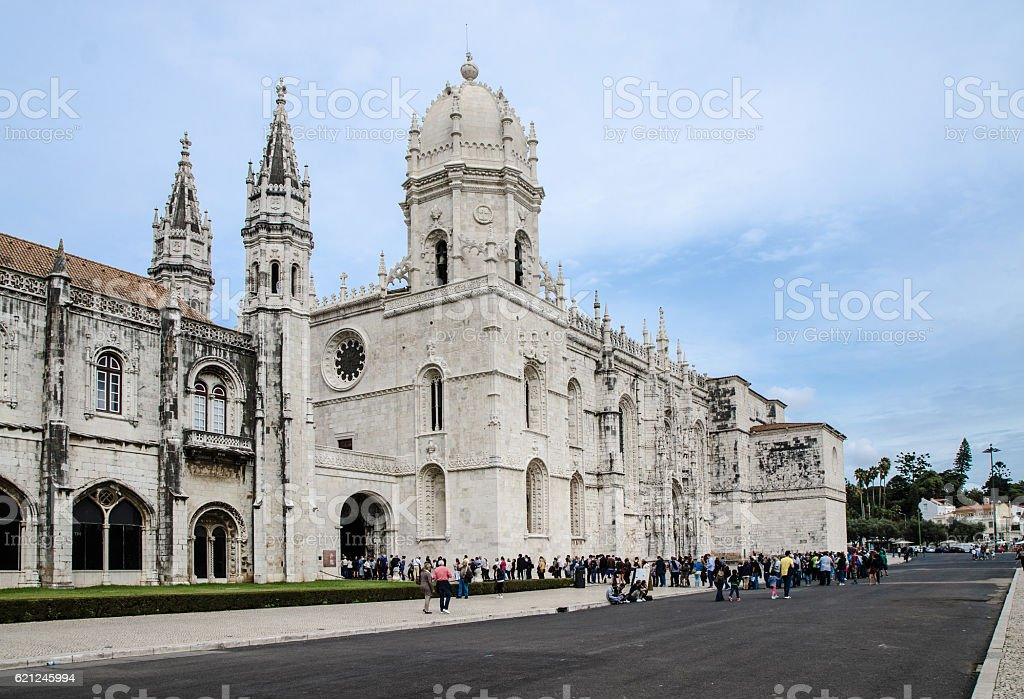 Belem Jeronimos Monastery with huge crowd in line to enter stock photo