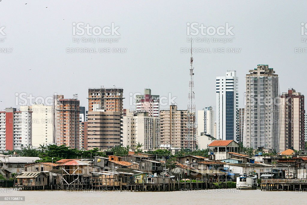 Belem: modern buildings and stilt houses stock photo