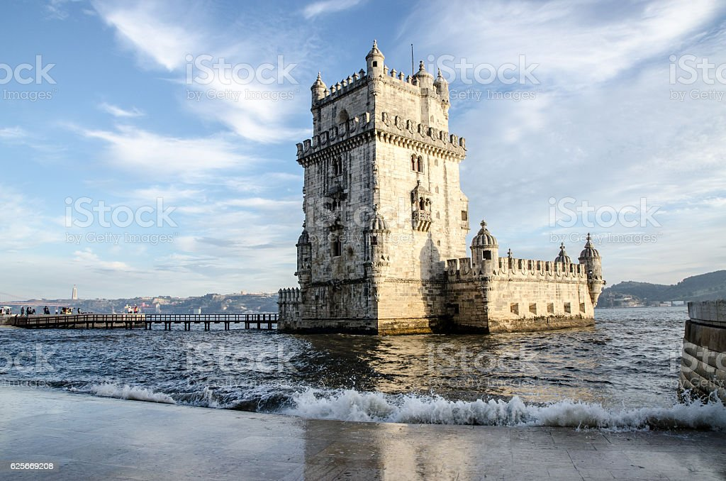 Belem Tower at day in Lisbon Portugal stock photo